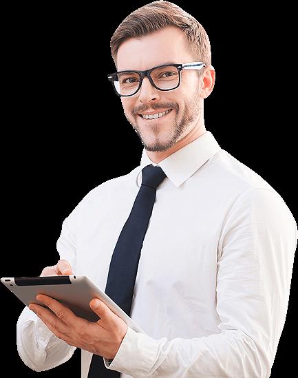 Expert comptable avec une tablette dans les mains